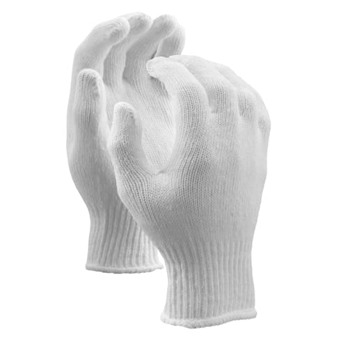 String Knit Gloves, Standard Weight, 7 Gauge, Bleached White