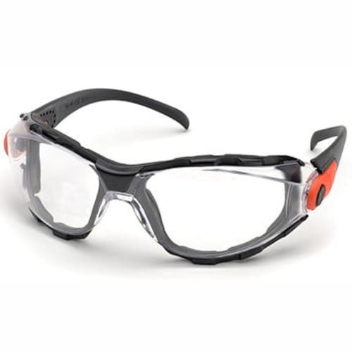 Foam-lined eyewear, Clear lens, Adjustable temples