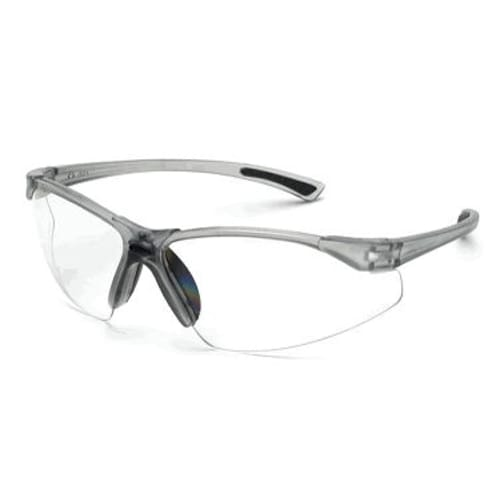 Stylish Bifocal safety glass, clear lens, 2.0 diopter