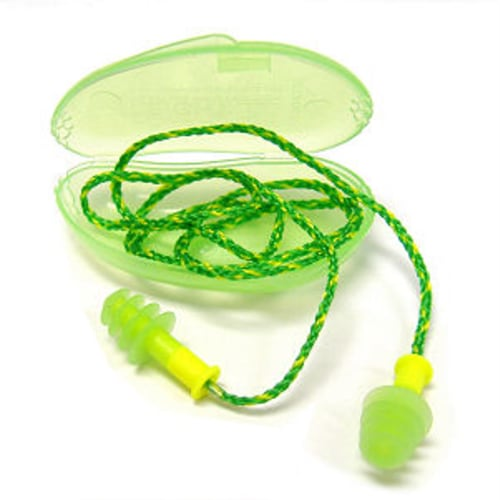 Howard Leight Fusion Multi-Use Ear Plug, Small, 27 dB, 4 Flange, Corded, Yellow/Green