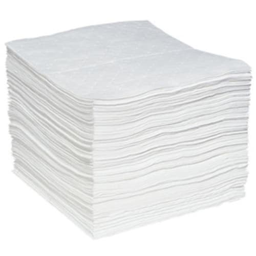 White dimpled Oil Only Sorbent Pad. Perforated Heavyweight