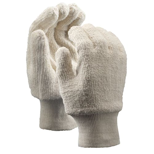 Terrycloth Gloves, Medium Weight, Knit Wrist, Cut and Sewn