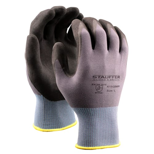 Gray Nylon/Spandex Gloves with Black Nitrile Foam Coating