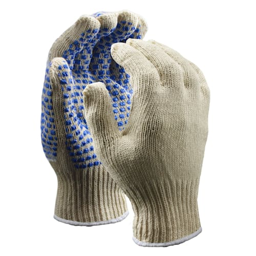 Standard Weight String Knit Gloves with Blue Blocks