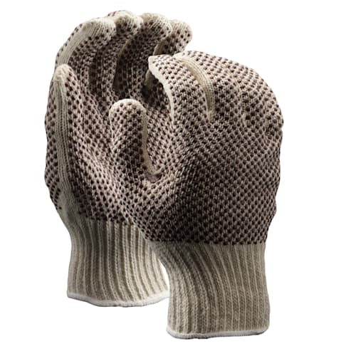 String Knit Gloves with Two-Sided PVC Dots, Medium Weight