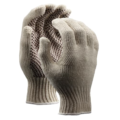 String Knit Gloves with PVC Dots, Medium Weight