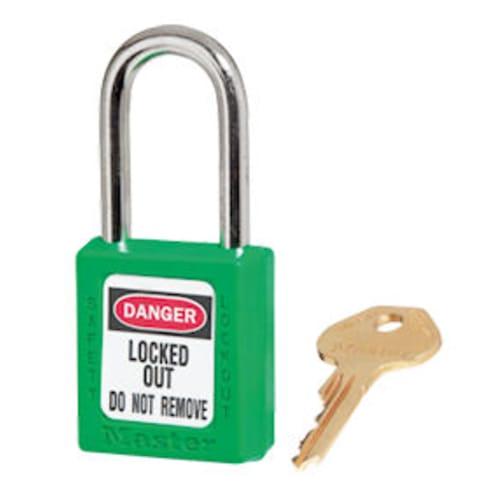 Green Safety Padlock short Zenex body. 1/4 x 1-1/2 shackle. Padlock, Zenex, Plastic, KD, Lockout, Tagout, Master Lock, Green