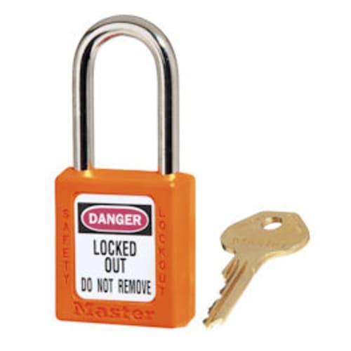 Orange Safety Padlock short Zenex body. 1/4 x 1-1/2 shackle. Padlock, Zenex, Plastic, KD, Lockout, Tagout, Master Lock, Orange