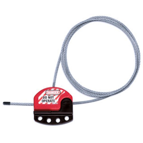 """6' Cable Lockout Patented 5/32"""" (4mm) diameter x 6' (1.83m) pull-tight cable adjusts for a secure fit every time."""