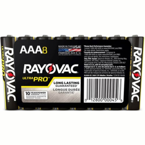 Rayovac UltraPro Alkaline Shrink-Wrapped AAA 8-Pack