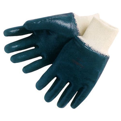 Fully Coated Nitrile Gloves with Jersey Liner, Knit Wrist