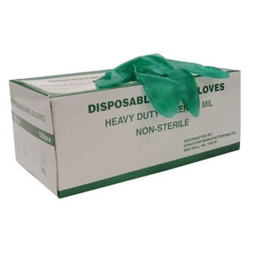 Green Powdered Disposable Vinyl Gloves