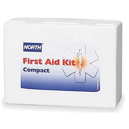 First Aid Kit, 14 in W X 9-1/2 in L X 2-5/8 in H, Metal Case, White