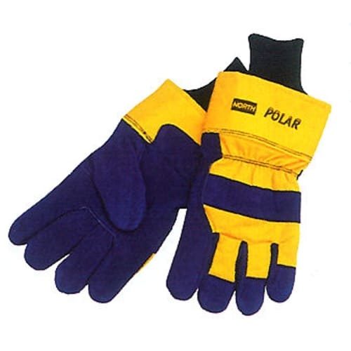 Gloves General Purpose Cold Weather Gloves, Leather/Canvas Blue/Yellow Gun Cut