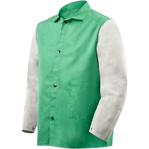 9 Oz Green Fr Cotton Jacket, Leather Sleeves