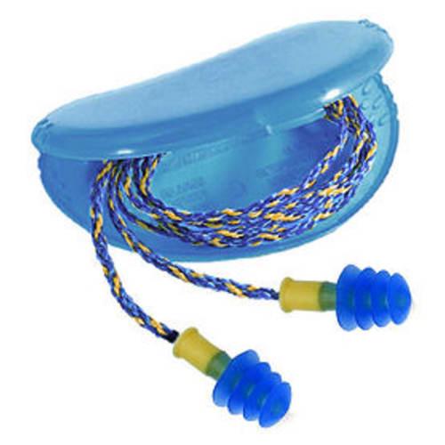 Howard Leight Fusion Multi-Use Ear Plug, Regular, 27 dB, 4 Flange, Corded, Blue/Yellow