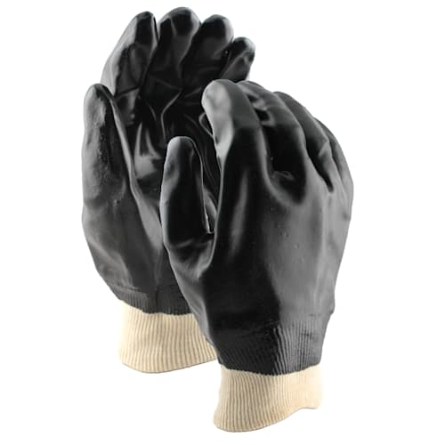Black PVC Coated Gloves with Knit Wrist Cuff