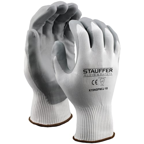 White Nylon Glove with Gray Nitrile Foam Coating