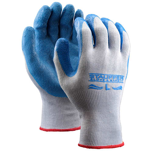 Cotton/Polyester Glove with Blue Crinkle Rubber Coating