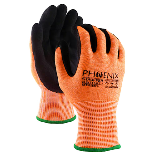 Phoenix Hi Viz Cut Resistant Glove with Double Nitrile Foam Coating, A5