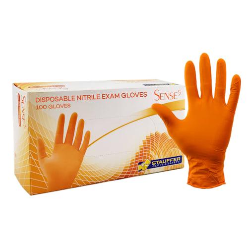 "Sense5™ Orange Disposable Nitrile Gloves, 5 mil, 9.5"" Length"