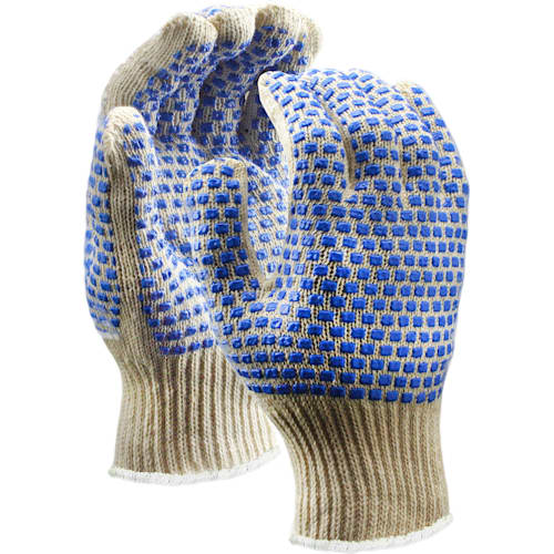 String Knit Gloves with Two-Sided PVC Blocks Gloves, Medium Weight