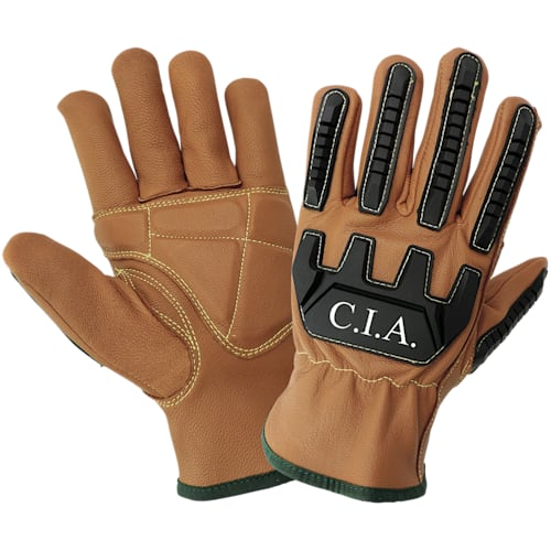 CIA Impact Resistant Double Palmed Grain Goatskin Leather Gloves