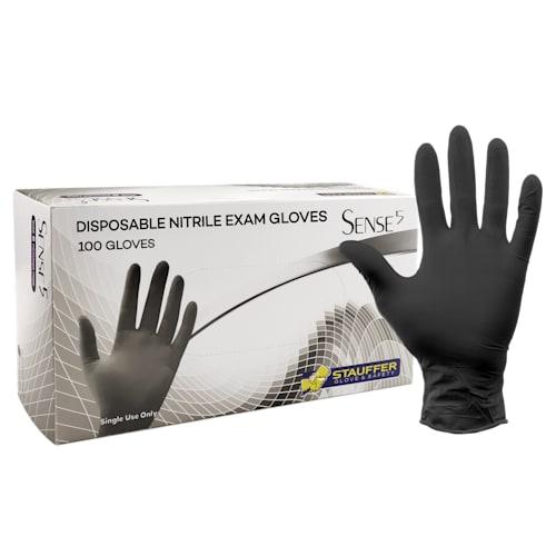 "Sense5™ Black Disposable Nitrile Gloves, 5 mil, 9.5"" Length"
