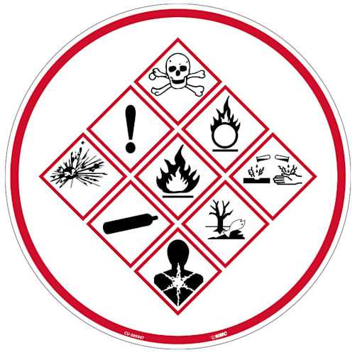 "Sign, Chemical Exposure Risk, Floor Application, Circle, 10""H x 10""W"