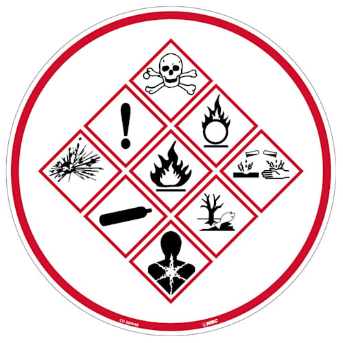 "Sign, Chemical Exposure Risk, Equipment Application, Circle, 12""H x 12""W"