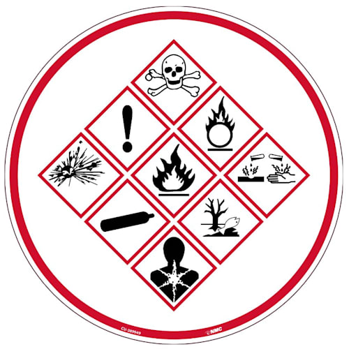 "Sign, Chemical Exposure Risk, Equipment Application, Circle, 6""H x 6""W"