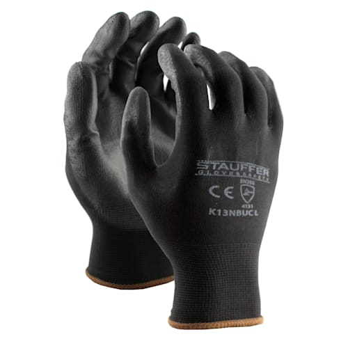 Black Nylon Gloves with Black PU Palm Coating