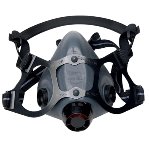 North 5500 Molded Reusable Air Purifying Half Mask Respirator, Large, Yolk And Cradle Suspension
