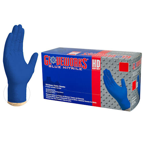 Gloveworks Heavy-Duty Royal Blue Nitrile Disposable Gloves