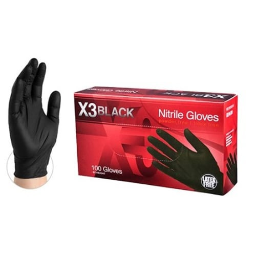 X3 Industrial Grade Black Nitrile Gloves