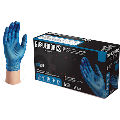 GlovePlus Blue Vinyl Industrial Latex Free Disposable Gloves