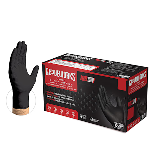 HD Black Nitrile Gloves, Diamond Texture