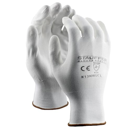 White Nylon Gloves with White PU Palm Coating