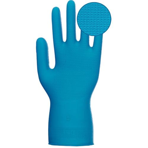 "Unlined Blue Nitrile 12"" Ambidextrous Gloves, 11 mil, Zigzag Grip"