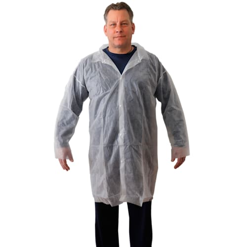 White Polypropylene Lab Coat - (Case of 30)