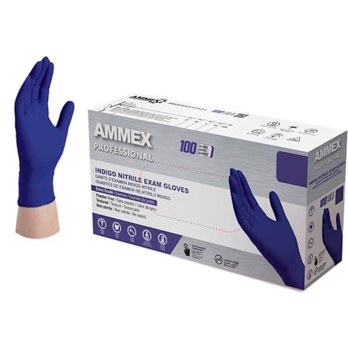 Exam Grade Indigo Nitrile Gloves