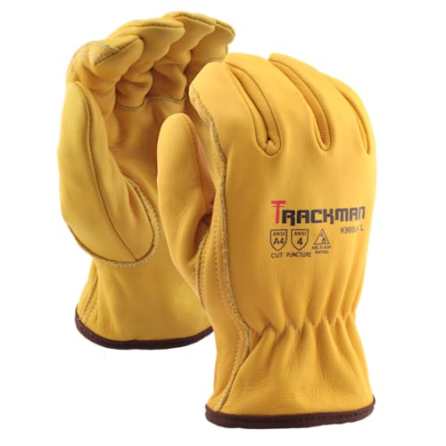 Trackman™ Cowhide Ground Gloves with Aramid Blend Liner, Cut Level A4