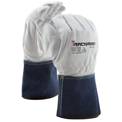 Trackman™ Goatskin MIG/TIG Climbers Gloves with Aramid Blend Liner, Gauntlet Cuff, A4