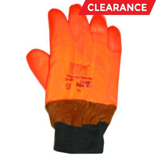 Monkey Grip gloves, fluorescent orange vinyl w/ knitwrist