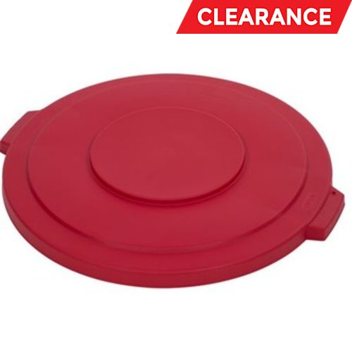 Lid, Flat, Round, Red, 32-Gallon Container