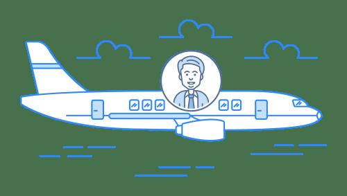 Business trip plane