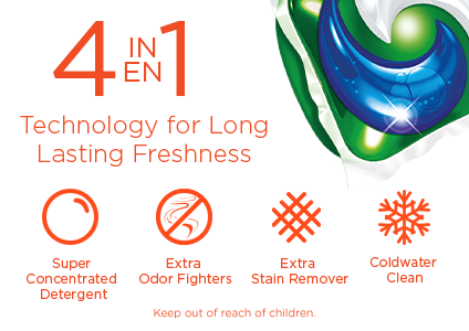 4 in 1 technology for long lasting freshness: super concentrated detergent, extra odor fighters, extra stain remover and coldwater clean
