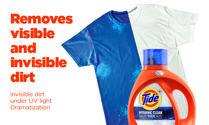 Tide Hygienic Clean Heavy Duty 10x Liquid Detergent removes visible and invisible dirt - invisible dirt under UV light dramatization