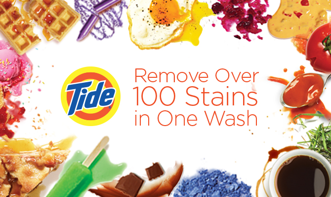 Tide Plus Bleach Alternative Liquid Laundry Detergent removes over 100 stains in one wash.