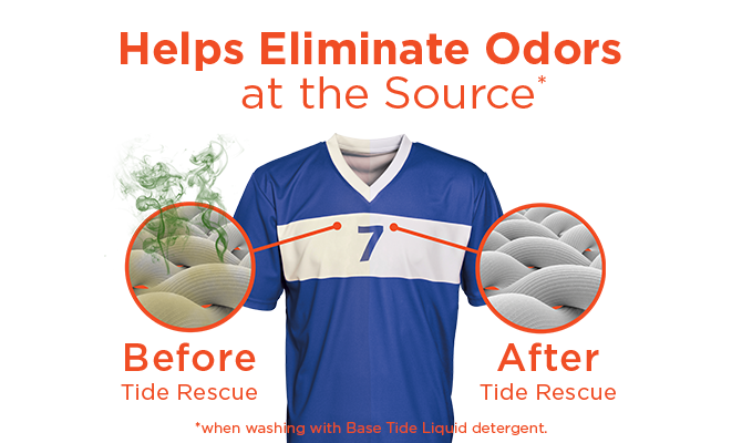 A blue jersey before and after Tide rescue